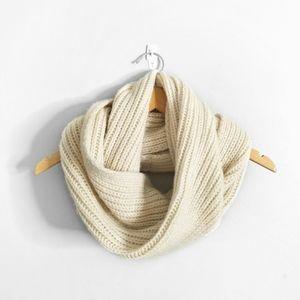 J CREW Cream Chunky Knit Wool Infinity Scarf